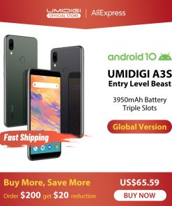 UMIDIGI A3S Android 10 Global Band 3950mAh Dual Rear Camera  5.7″ Smartphone 13MP Selfie Triple Slots Dual 4G VoLTE Celular