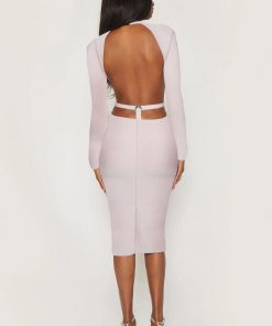 Bandage Dress 2020 Fashion Nude Long Sleeve Bandage Sexy Cut Out Dress Bodycon Celebrity Evening Club Party Dress