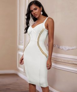 Bandage 2020 New Arrival Chain Embellished Women White Bandage Dress Bodycon Celebrity Evening Club Party Dress