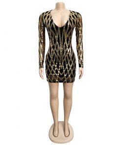 Sexy Sequin Mesh Dress Women Deep V Neck Long Sleeve Bodycon Mini Dress Elegant Sparkly Glitter Vestidos Club Party winter Dress