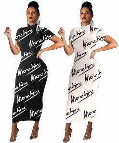 2020 Fashion Maxi Long Dress Short Sleeve Black Letter Print Dresses Women  Sexy Party  Skinny Bodycon Elegant vestido