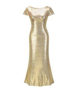 Sexy Shiny Gold Color Long Dress Women 2020 Open Back Charm Temperament Elegant Trendy High Grade Bridesmaid Party Club Dress