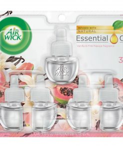 Air Wick Plug in Refill, 5ct, Vanilla and Pink Papaya, Scented Oil, Air Freshener, Essential Oils