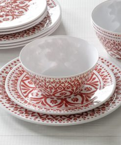 Mainstays Melamine Medallion Red 12 Piece Dinnerware Set, Service for 4