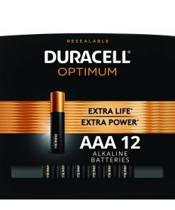 Duracell Optimum 1.5V Alkaline AAA Batteries, Convenient Resealable Package, 12 Pack