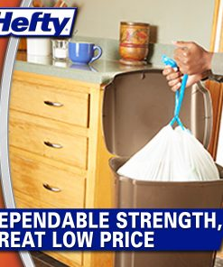 Hefty Strong Tall Kitchen Trash Bags, Unscented, 13 Gallon, 90 Count