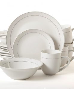 Gibson Home Platinum Moon 16 Piece Dinnerware Set, Sliver