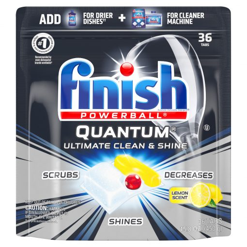 Finish Quantum Powerball, 36ct, Lemon, Ultra-Degreaser Dishwasher Detergent Tabs
