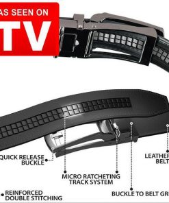 Costyle New Style Comfort Click Belt Men Automatic Adjustable Leather Belts As Seen On TV,Black