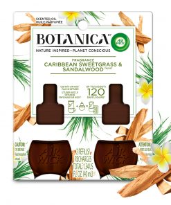 Botanica by Air Wick Plug in Refill, 2ct, Caribbean Sweetgrass and Sandalwood, Scented Oil, Natural Ingredients, Essential Oils, Air Freshener