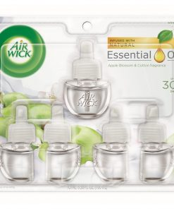 Air Wick Plug in Refill, 5ct, Apple Blossom and Cotton, Scented Oil, Air Freshener, Essential Oils