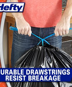 Hefty Strong Multipurpose Large Black Trash Bags, 30 Gallon, 15 Count