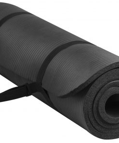 Everyday Essentials All-Purpose 1/2-Inch High Density Foam Exercise Yoga Mat Anti-Tear with Carrying Strap, Black