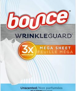 WrinkleGuard Mega Dryer Sheets, Fabric Softener and Wrinkle Releaser Sheets, Unscented, 120 Count (Pack of 2, 60 Count Each)