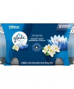 Glade Jar Candle 2 CT, Moonlit Walk & Wandering Stream, 6.8 OZ. Total, Air Freshener, Wax Infused with Essential Oils