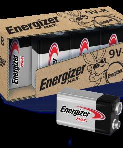 Energizer MAX 9V Batteries, Alkaline 9 Volt Batteries (8 Pack)