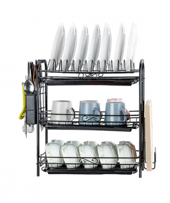 2/3 Tier Dishwashing Rack,Buckle Dish Drain Rack with Drainage Board and Hanging Chopsticks Knife Shelf Tableware Storage Drain rack Kitchen