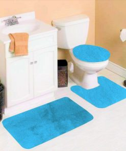 #6 3 PIECE TURQUISE SOLID NON-SLIP BATHROOM RUG SET , 1 Contour Mat, 1 Lid Toilet Cover, 1 Bath Mat Ultra Absorbent with Anti-Slip Backings ( FOR STANDARD SIZE ONLY )