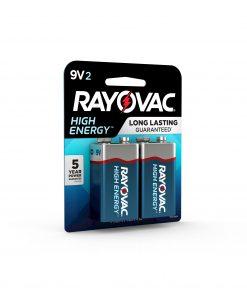 Rayovac High Energy Alkaline, 9V Batteries, 2 Count