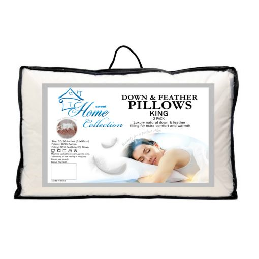 Luxury Natural Down and Feather Bed Pillows 2 Pack