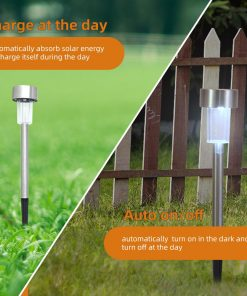 Zimtown 24pcs 5W High Brightness Solar Power LED Lawn Lamps with Lampshades White & Silver