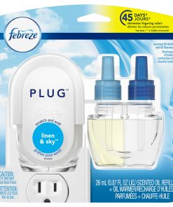 Febreze Plug Scented Oil Refill and Oil Warmer, Linen & Sky, 1 Ct