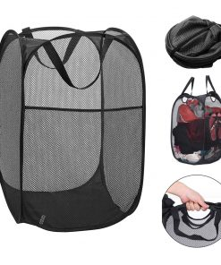 2 Pc Pop Up Folable Laundry Basket Mesh Hamper Washing Clothes Bag Storage Bin