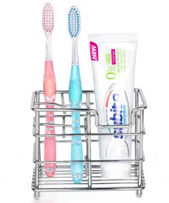 Toothbrush Holder, Stainless Steel Bathroom Storage Organizer Stand Rack – Multi-Functional 4 Slots for Large Powered Toothbrush, Toothpaste, Cleanser, Comb, Razor