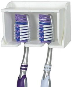 Camco 57203 White Pop-A-Toothbrush Wall Mounted Holder With Germ Protecting Cover, Perfect For Traveling, Dorm Bathrooms and More, Holds 2 Toothbrushes