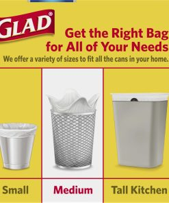 Glad Medium Trash Bags, 8 Gallon, 26 Bags (ForceFlex, Quick Tie)