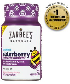Zarbee's Naturals Children's Elderberry Immune Support* Gummies, With Vitamin C, Zinc and Real Elderberry, Natural Berry Flavor, 21 Gummies (1 Bottle)
