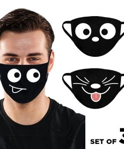 Reusable Cloth Face Masks Fabric Face Dust Mask Mouth Mask 3 Layered 100% Cotton Face Mask Breathable Face Mask Face Cover Protection Nose Mask Silly Faces Set of 3