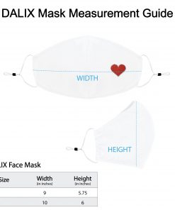 DALIX Womens Embroidered Red Heart Cloth Face Masks Reuseable Washable in White Made in USA
