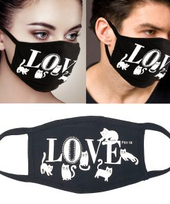 3Pcs Unisex Love Cat Rhinestone Face Mask Protect Reusable 100% Cotton Comfy Washable Made In USA Black