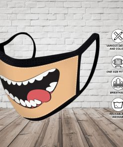 Reusable Face Mask Washable Cloth Face Masks Funny Teeth Mask 4 Layered Breathable Mouth and Nose Mask Face Cover Washable Face Mask