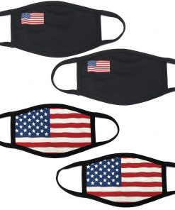 4Pcs USA Flag Print Unisex Face Mask Protect Reusable 100% Cotton Comfy Washable Made In USA