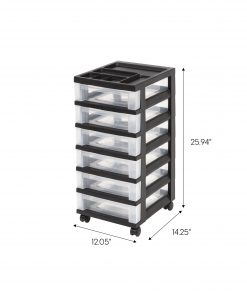 IRIS USA 6-Drawer Cart with Organizer Top, Black