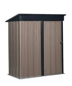 Ainfox 5 x 3 ft Steel Storage Shed with lean-to Roof, Outdoor Garden Backyard Utility Storage Shed Tool House, Galvanized Steel(Black-Brown)