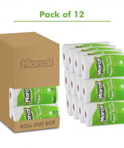 "U-Size-It Paper Towels, 100% Recycled, 2-Ply, U-Size-It Towels, 210 Sheets Per Roll, 12 Individually Wrapped Rolls, In a""Roll Out"" Case – Green.., By Marcal"