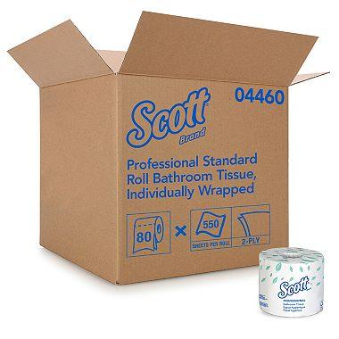 Product of Scott – Standard Roll Bathroom Tissue, 2-Ply, 550 Sheets/Roll – 80/Carton – Toilet Paper [Bulk Savings]
