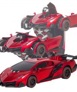 Best Choice Products 1:16 Scale Transforming RC Remote Control Robot Drifting Race Car Toy w/ LED Lights – Red