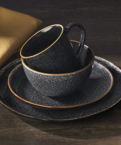 Better Homes & Gardens 16-Piece Burns Speckled Dinnerware Set, Black